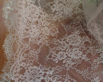 off white chantilly lace fabric, bridal lace fabric