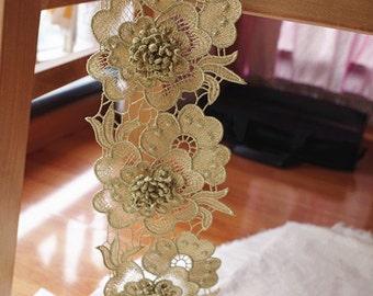 metallic gold lace trim with 3D flower, gold crochet lace trim