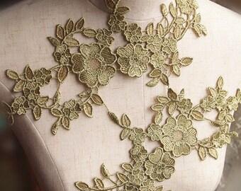 metallic gold lace applique with retro florals by pairs, guipure lace appliques, venise lace trim