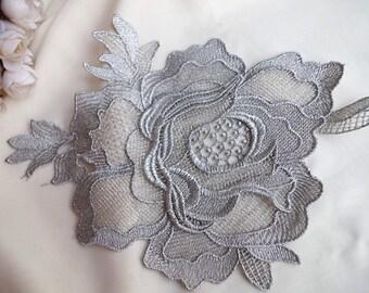 metallic silver rose lace applique, golden lace applique, peony lace applique