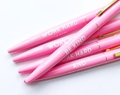 Work Hard And Be Kind Pens-  Light Pink, Set of 5 // Stocking Stuffers // Holiday Gifts