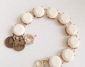 Cream Statement Bracelet Love Charm