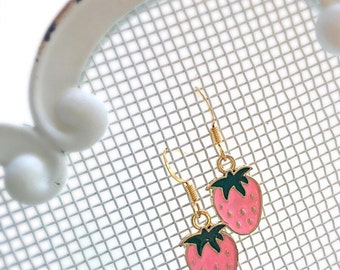 Girls Strawberry Earrings Strawberry Shortcake Girl's Earrings Summer Pink