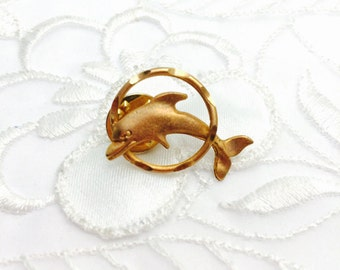 Dolphin Lapel, Gold Tone, Animal Figural, Masculine Pin, Gifts For Him,  Estate Sale, Item No. B490