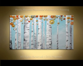 Original Abstract Birch in spring Texture Painting on canvas by P. Nizamas ready to hang