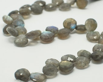 Labradorite Heart Briolettes, Labradorite Briolette Faceted Flat Drops, 8x8 mm, 8 Beads, Destash Gemstones #102