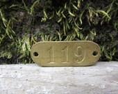Number Tag Vintage Original Locker Tag Basket Tag Brass Metal Number 119 Tag #119 Tag Lucky Number Address Door Number vtg Early 1900's Old