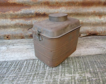 Antique Lunch Bucket 1920s Era Metal Lunch Box Unusual License Plate Repair Miners Coal Mining Coal Mine Factory Worker Lunch Box Bucket vtg