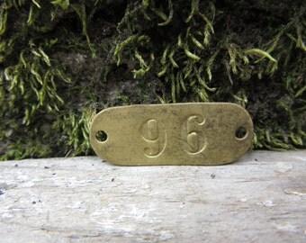 Number Tag Vintage Original Locker Tag Basket Tag Brass Metal Number 96 Tag #96 Tag Lucky Number Address Door Number vtg Early 1900's Old