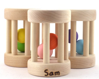 Personalized Baby Toy - Rolling Wooden Rattle and Musical Toy - Baby Shower or Toddler Gift - Custom Colors