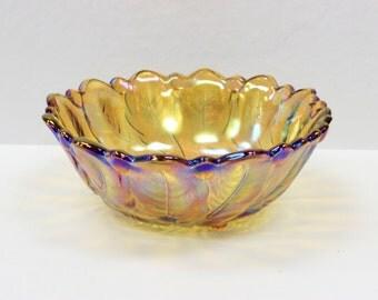 """Vintage c1920 Carnival Glass """"Rose & Leaf"""" Bowl"""