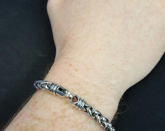 MEN'S 6mm Wide Oxidized Wheat Chain Bracelet - 925 Sterling Silver - 8.5 and 9.5 inches