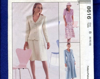 McCalls 8616 Princess Seam Mother of the Bride Suit Jacket with Petal Collar & Soft Gore Skirt Size 8..12..14 UNCUT