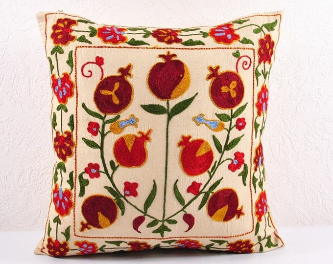 SALE! Handmade Suzani Pillow Cover USP106, Suzani Pillow, Suzani Throw, Suzani, Decorative pillows, Accent pillows, Small Price