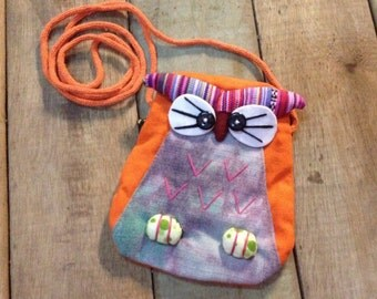 Cute Orange Owl Zipper Pouch / Coin purse/ Kids / Gift / Handmade Fabric / tie-dyeing