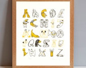 Dog Lover Gift Print, Dog Breed Print, Dog Alphabet Print, Dog Alphabet, Gift for Dog Lover, Dog Art Print, Alphabet of Dogs