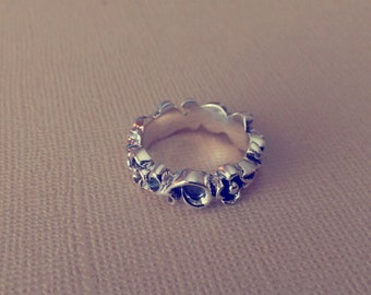 Lace and Floral-Sterling Silver Ring