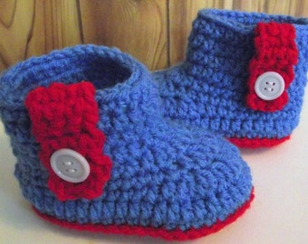 Baby Booties- Boot style Patriotic baby booties, 4th of July booties