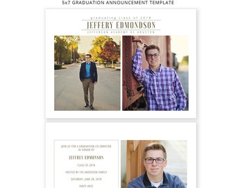 Senior Graduation Announcement - Modern Senior Guy Card Template - Photoshop Template for Photographers - Card 5x7 - GC