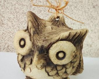 Cute little owl , nome decor , ceramic figurine , fan art. Symbol of wisdom.