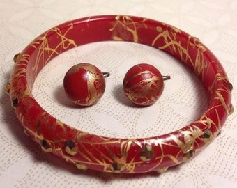 Vintage 1940s Red Celluloid Bangle Bracelet Earrings Set Gold Paint Rhinestones