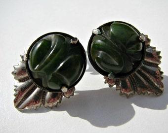Vintage Green Carved Bakelite Screwback Earrings Chrome Art Deco 1930s TESTED