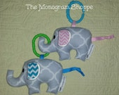 Infant/Baby/Toddler Elephant (Elephante') Rattle Softie Toy - Free Monogramming