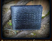 Men's Leather Alligator & Crocodile Billfold, For a distinctive wallet look no further! Embossed cowhide in black.
