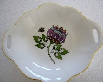 Hand painted on Wedgwood bone china abstract flower and Bee