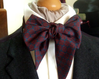 Victorian Bow Tie Cravat Ascot in Claret Red and Teal 100% Cotton