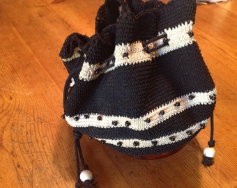Celluloid bottomed Vintage c. 1930's Handmade Crochet Handbag, with beads.