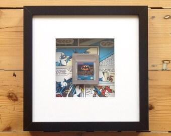Batman Gameboy Game Cart Framed Wall Art - Retro Gaming Gamer Geek Picture Home Decor OOAK Computer Videogames
