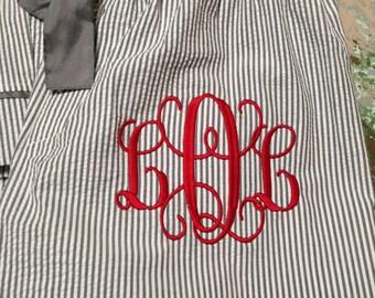 Monogrammed Pajama Bottoms Seersucker PJs Teens Girls Ladies Bride Gift Sleep Pants