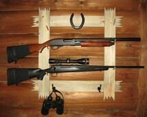 Gun Rack,Rustic,Wood,Hunting,Gun Shelf, Gift For Him,Horseshoe