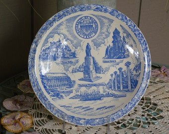 Vintage Vernon Kilns Souvenir Plate - University of Washington//Souvenir Plate// Home Decor //Blue Transferware