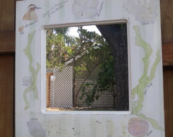 Vintage Handmade Painted Mirror with Sea Shell Accents  by Twig and Willow
