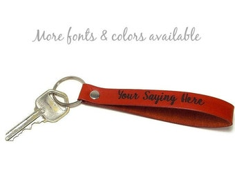 Personalized Key Fob, Custom Monogram Key Fob, Design Your Own Leather Key Chain, Gifts Under 15