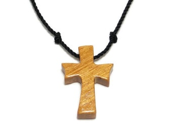 Reclaimed Wood Cross Necklace - Minimalist Cross Necklace - Men's Cross - Cross Pendant - Osage Orange Wood