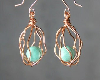 Turquoise copper wiring cage dangle earrings Bridesmaids gifts Free US Shipping handmade Anni Designs