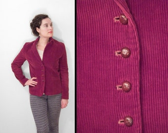 Cranberry CORDUROY Blazer Red 1970s Sears Jr Bazaar Small