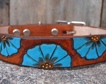 Flora- blue floral hand carved, tooled, and painted leather dog collar
