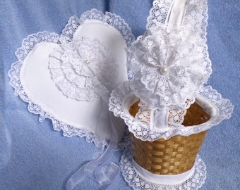 White Lace and Golden Wheat Basket & Heart and Lace Ring Pillow Wedding Flower Girl