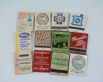 12 Pharmacy Matchbooks - Pharmaceutical, Drugs, Pharmacist, Miami