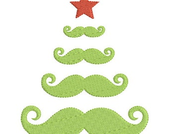 Embroidery design machine Christmas tree mustache instant download