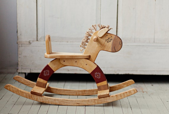 Wood Rocking Horse, Wooden Rocking Toy, Classic Kids Toy