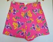 Vintage Pink Floral Denim High Waist Shorts Sostanza Rad Funky Size 6 - 8