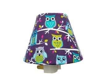 Owl Night Light / Baby Girl Room Nursery Decor / Plum Purple Aqua Light Blue Green Turquoise Teal / Tween Girls Bathroom Bedroom