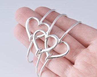 Heart Bangle Bracelet, Sterling Silver Heart Bracelet, Sterling Silver Bracelet, Heart Jewelry, Sterling Bracelet, Bridesmaid Gift