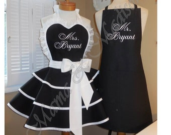 Mr. and Mrs. Custom Bridal Aprons...Perfect Bridal Shower Gift, Custom Personalization Of Your Choice