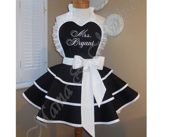 Personalized Womans Bridal Apron With Triple Tiered Skirt And Bib...Perfect Bridal Shower Gift